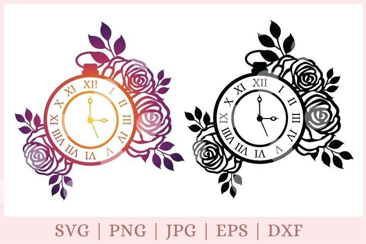 Floral clock svg, time svg, farmhouse svg