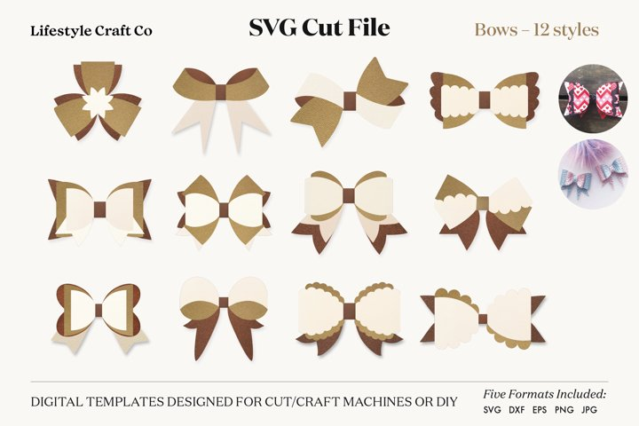 Bow Bundle SVG, Hair Bow Template, Bow Collection SVG