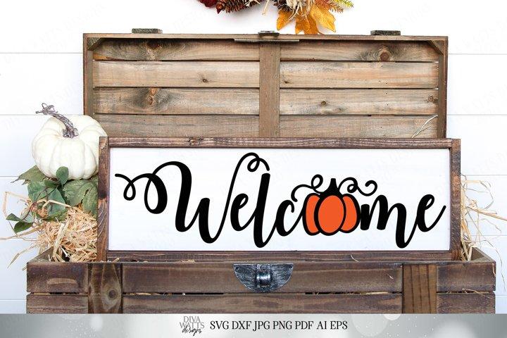 Welcome with Pumpkin - Autumn Halloween Design