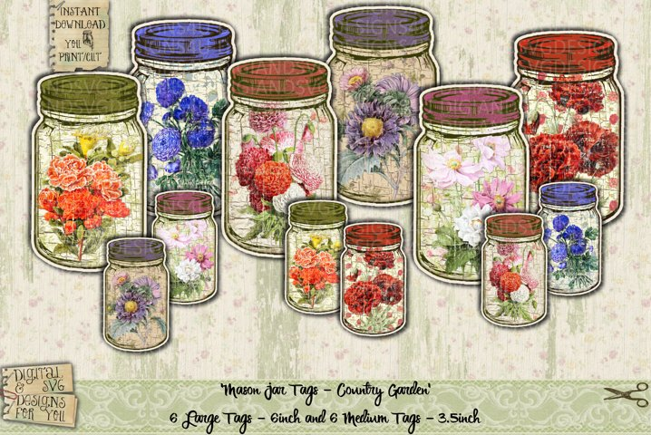 Printable Mason Jars | Shabby Chic | Mason Jar Flowers | MJ2