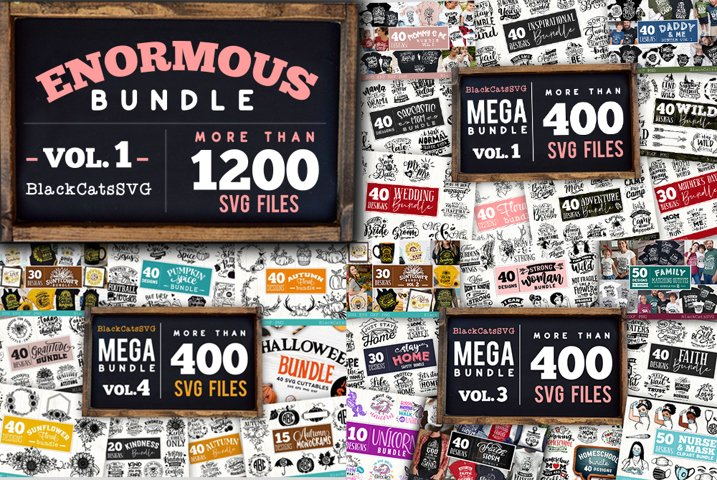 Enormous Bundle 1200 SVG designs vol 1