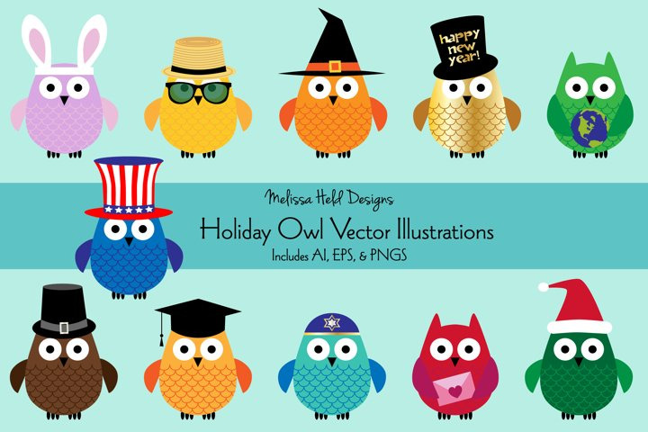 Holiday Owl Vector Illustrations
