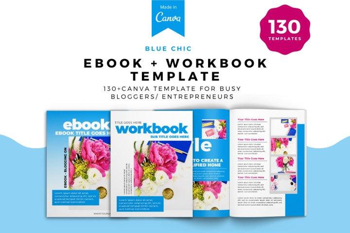 Blue Chic Workbook Canva Template, Workbook template