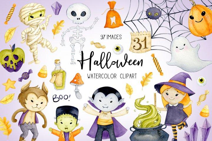 Watercolor halloween clipart, Fall digital printables