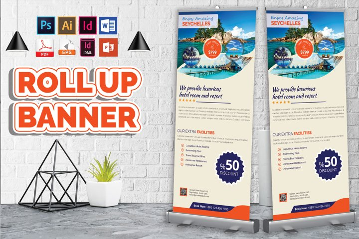 Travel Agency Roll Up Banner Vol-03