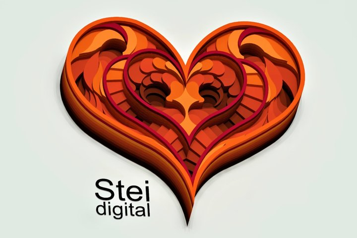3d layered Heart Cricut SVG, DXF file, Valentine day svg.