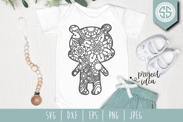 Teddy Bear Mandala Zentangle SVG, DXF, EPS, PNG, JPEG