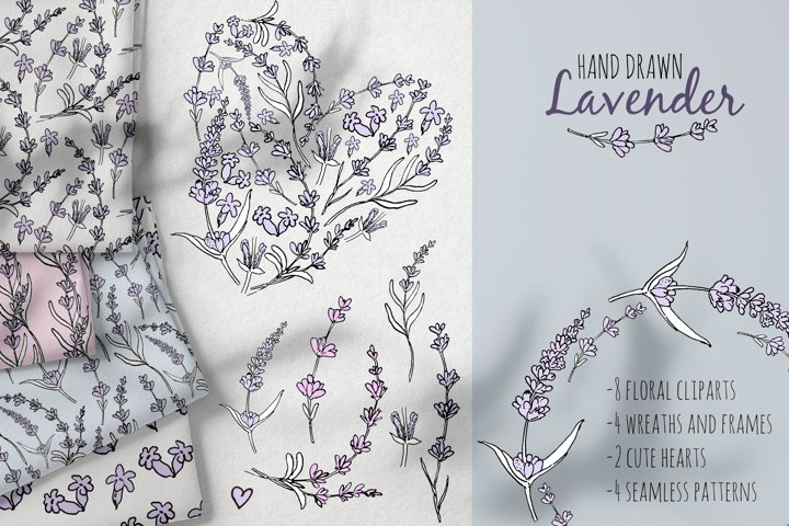 Hand drawn Lavender clipart. Valentines lavender heart.