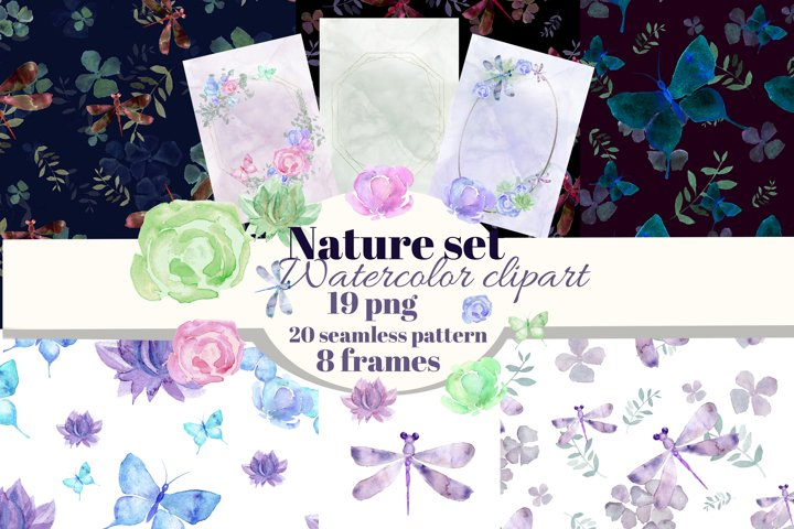 Insects and flowers watercolor clipart&frames&digitalpaper