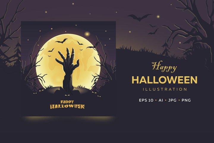 Happy Halloween card. Zombie hand in full moon