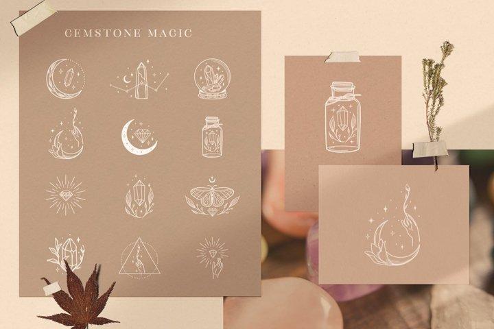White Logo Elements with Gemstones. Cosmos, Studio, Precious