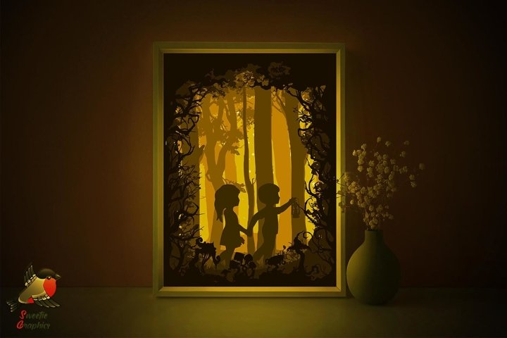 Gretel and Hansel Fairytale Lightbox Shadow Box SVG Template