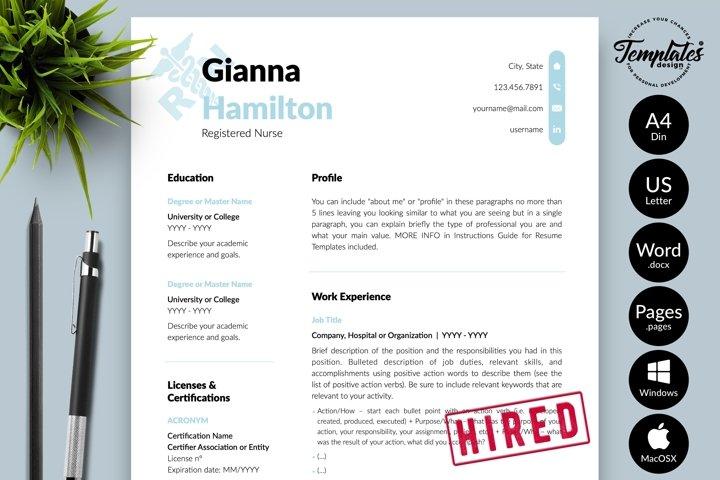 Nurse Resume CV Template for Word & Pages Gianna Hamilton