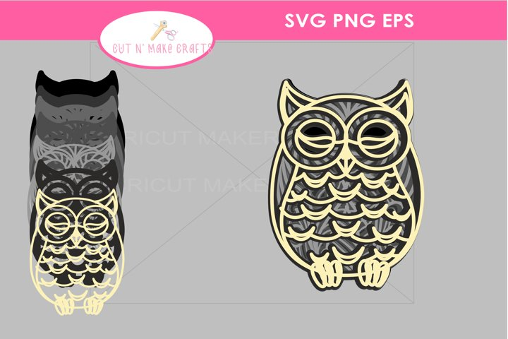 3D Owl Mandala SVG, 3D MultiLayered Mandala SVG