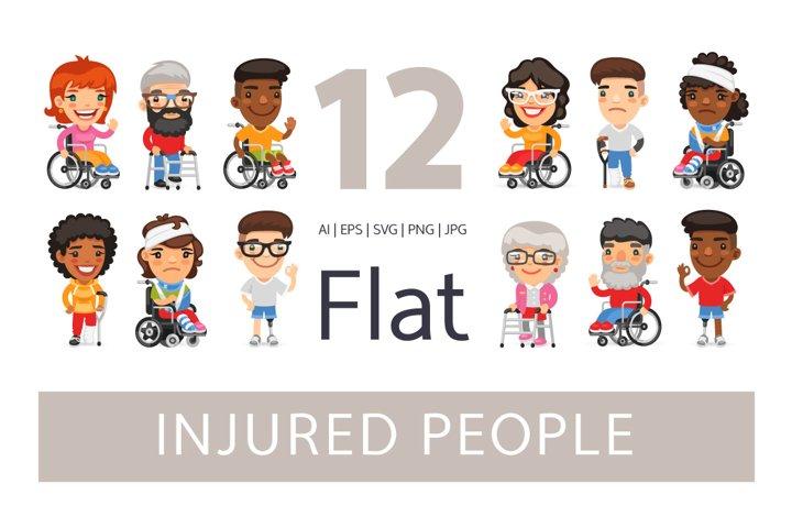 Injured People Flat Cartoon Characters