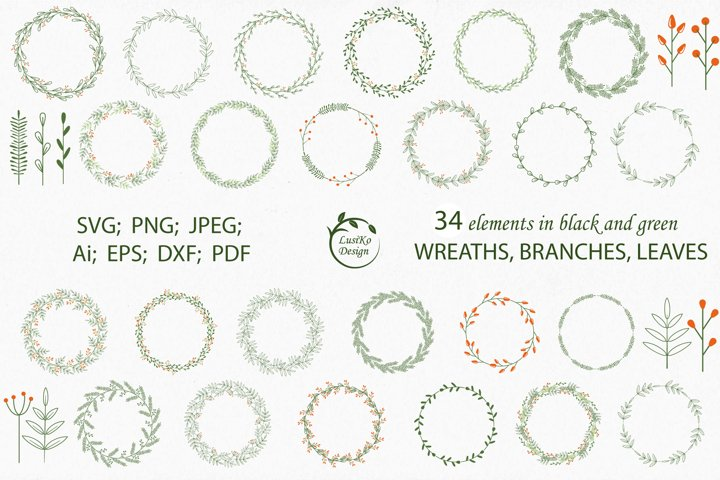 Frames, borders, wreaths bundle. Wreath svg holiday clipart