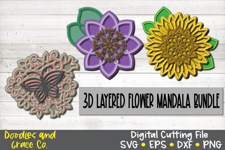 3D Layered Flower Mandala Bundle - SVG - PNG - EPS - DXF