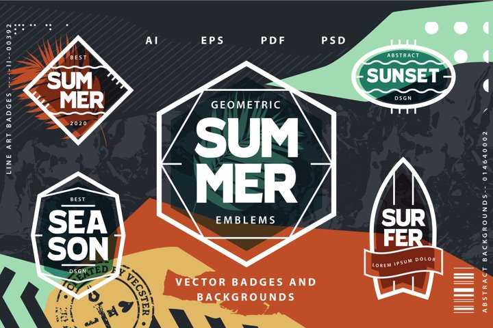Geometric Summer Emblems & Backgrounds