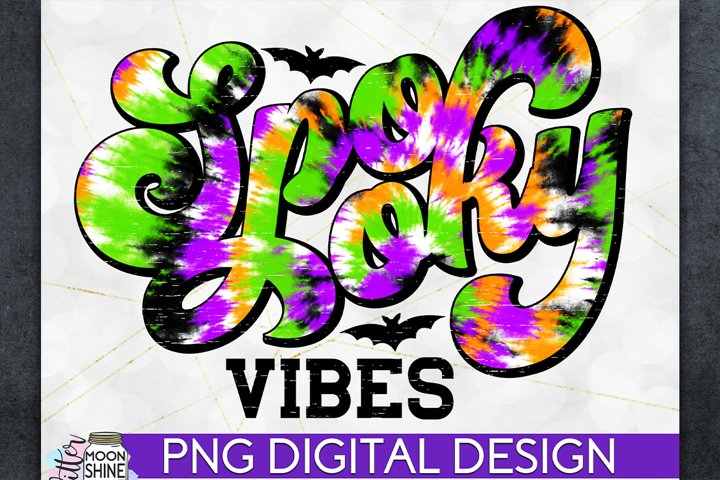 Spooky Vibes Tie Dye Halloween PNG Sublimation Design