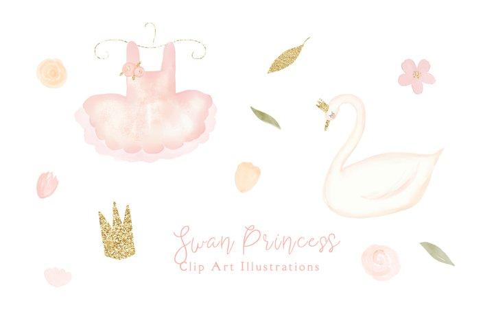 Swan Princess Watercolor Clipart