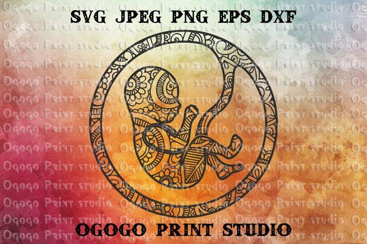 Baby svg, Girl SVG, Zentangle SVG, Mandala svg, Cricut file