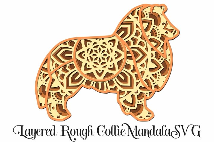 Rough Collie Dog Mandala Layered 3D SVG - 4 Layers