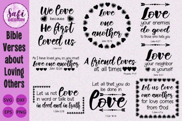Bible Verses About Loving Others Cut File Bundle- SVG DXF EP