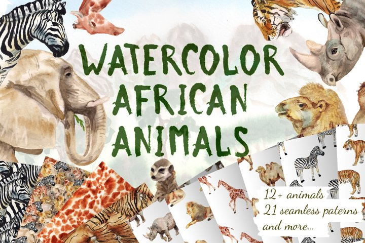Watercolor african animals