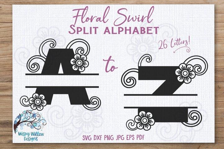 Floral Swirl Split Alphabet SVG Bundle   Monogram Letters