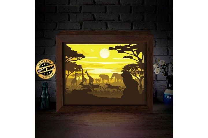 AFRICA LANDSCAPE 1 3D Paper Cutting Light Box - Shadow Box