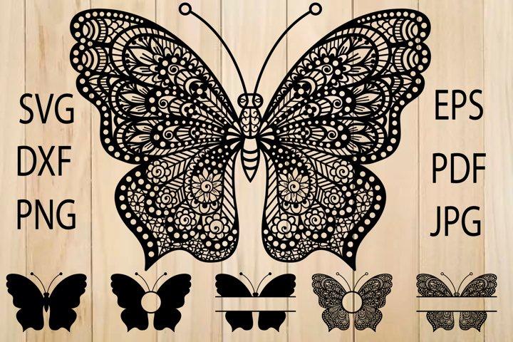 Butterfly SVG, Butterfly Monogram Frame, Zentangle SVG