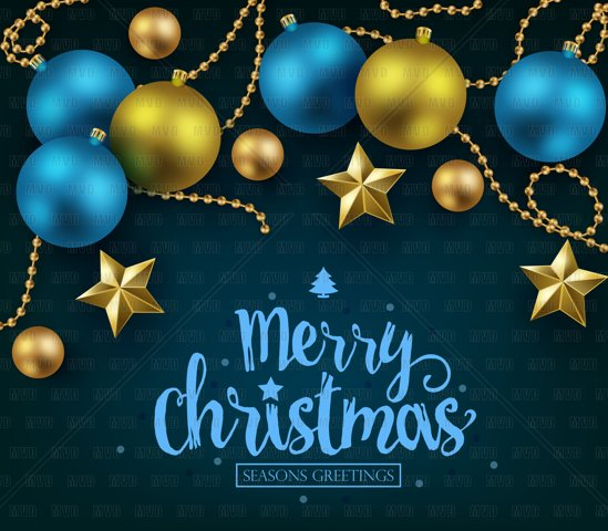 Merry Christmas and Happy New Year Typography on Blue Background