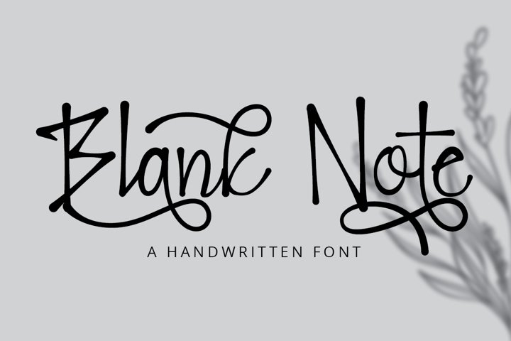 Blank Note - Ink Handwritten Font example
