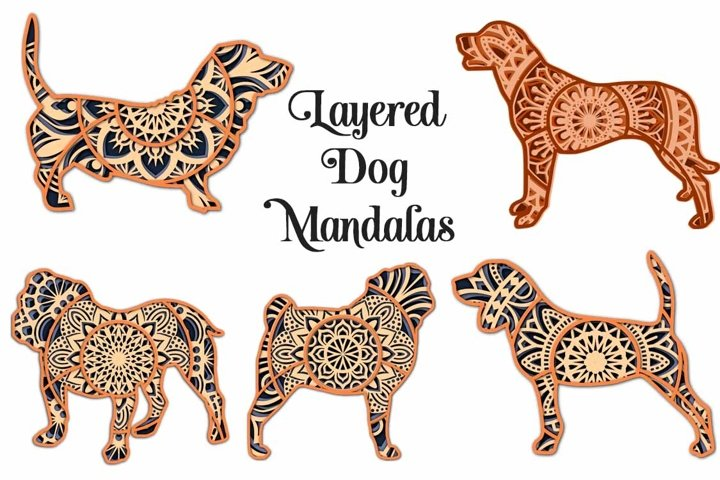 Mandala Dog SVG Bundle - 3D Layered Mandalas