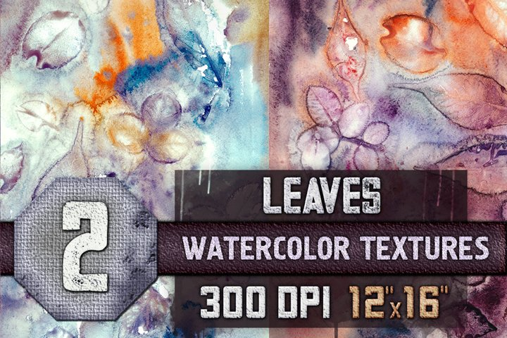 2 Fall Watercolor Textures with Leaves
