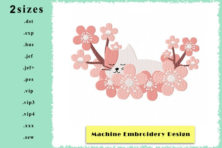 Kitten in a Cloud of Flowers - Machine Embroidery Design