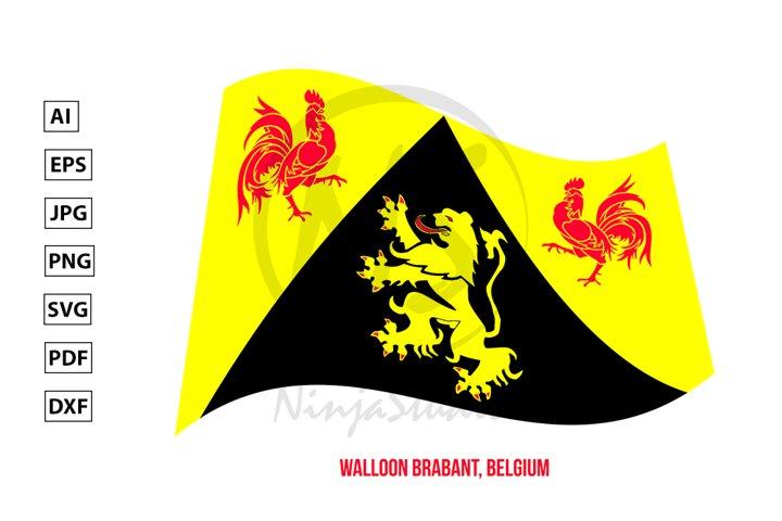 Walloon Brabant Flag Waving. Provinces Flags of Belgium