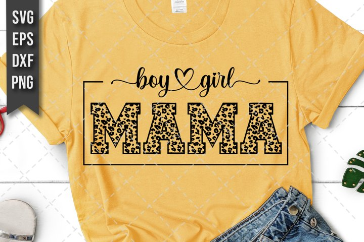Mama Of Both, Boy And Girl Mother Svg, Png, Leopard Print