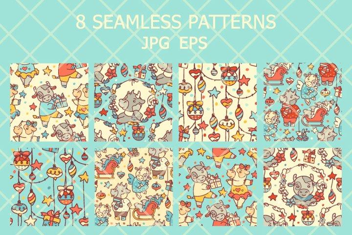 cutie cub seamless patterns