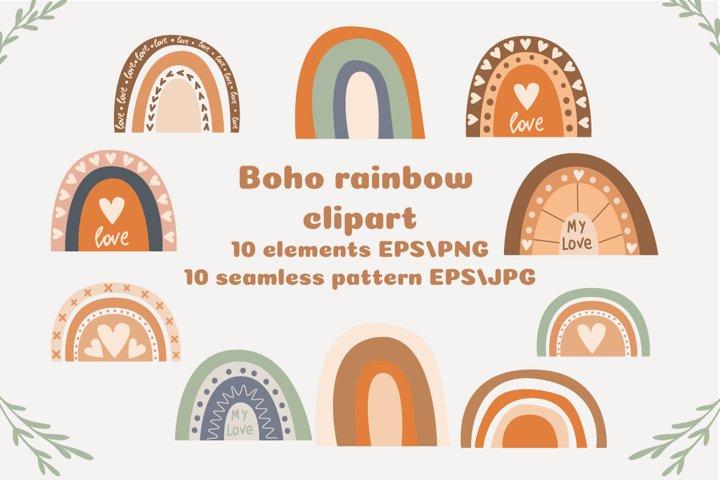 Boho rainbow clipart, Boho rainbow seamless pattern