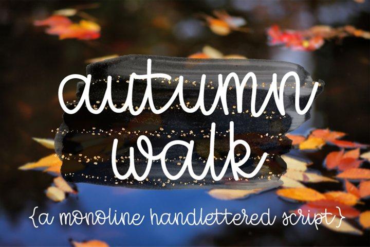 Autumn Walk - A Monoline Handlettered Script