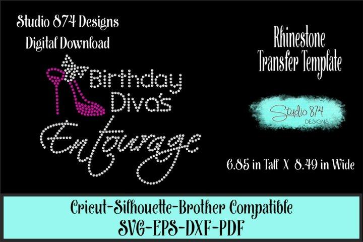 Birthday Divas Entourage - Rhinestone SVG Template