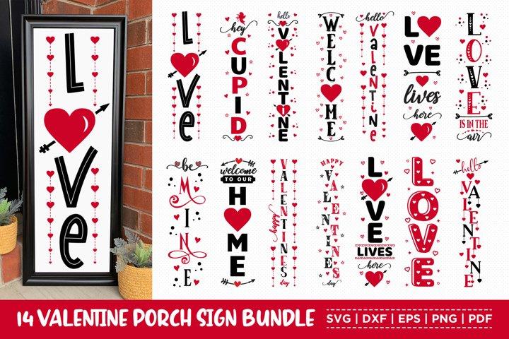 Valentine Porch Sign Bundle, 14 Valentines Vertical Sign SVG