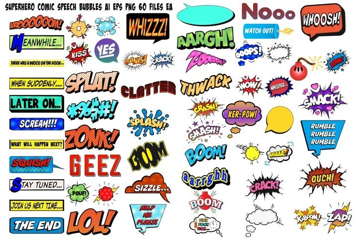 Superhero Comic Speech Bubbles AI EPS PNG