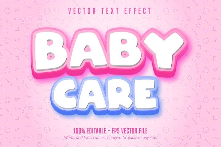 Baby care text, cartoon style editable text effect
