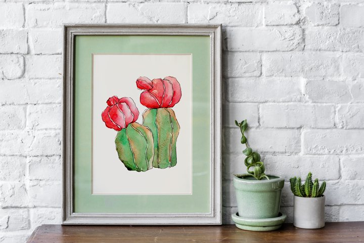 Cool colorful cacti PNG watercolor set example 2