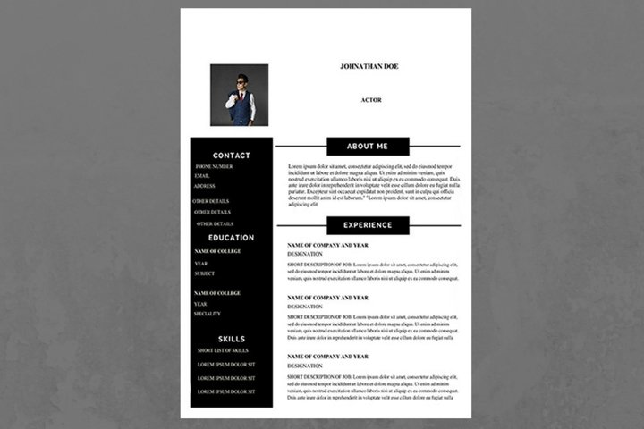 Black and White Modern Resume