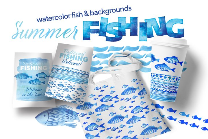 Watercolor cute fish with patterns, backdrops and letters