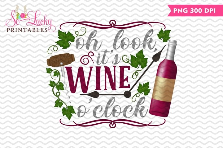 Its wine oclock watercolor sublimation design