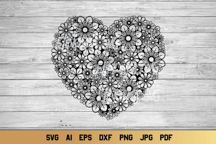 Heart SVG | Zentangle Heart SVG | Flower SVG | Love SVG